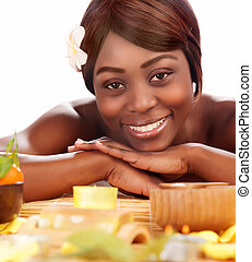 Afro girl enjoying day spa - Image of beautiful afro female...