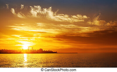 Sunset on the sea - Photo of beautiful orange sunset on the...