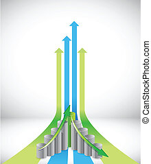 Green and blue leader arrows and graph illustration