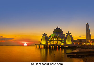 sunset at selat mosque - the great of sunset at selat mosque