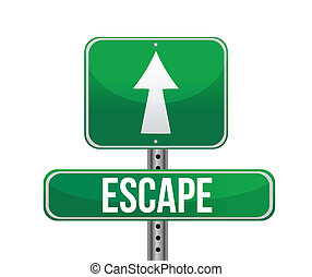 escape road sign illustration design over white