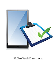 tablet and clipboard with checkmark