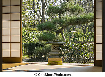 Japanese home - Japanese garden seen through a traditional...