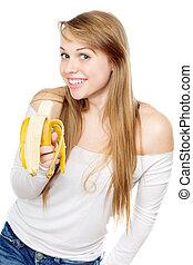 espiègle, femme, banane, tenue