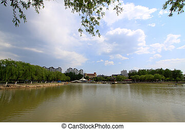 natural scenery, sides of the river in a park, north china