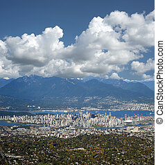 Metro Vancouver with Coast Mountains, British Columbia,...