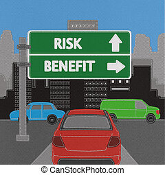 Risk and Benefit highway sign concept with stitch style on fabric background