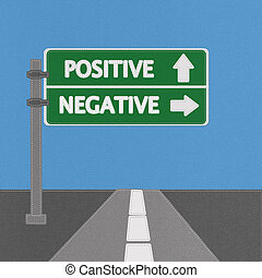 Positive and negative highway sign concept with stitch style...