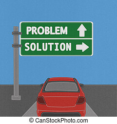 Problem and solution highway sign concept with stitch style...