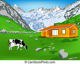 Dairy cow on a alps mountains green meadow.Alps landscape