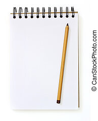 white sketch book and sepia pencil isolated on white