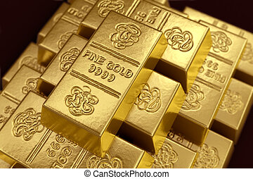 Stacked gold bars - 3d rendering of gold bullions.