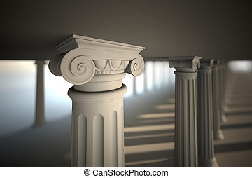 White greek columns. - Classical white Greek style columns.