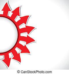 half-round arrow background - red color arrow in half circle...