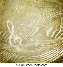 Grunge Musical Notes - Wavy score with musical notes on...