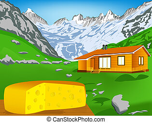 Natural swiss dairy cheese with alps mountains meadow