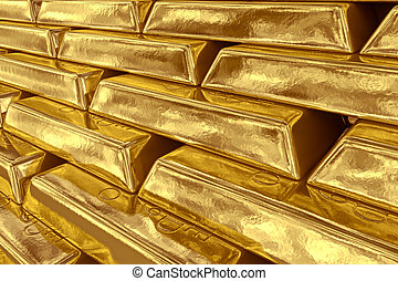 Stacked gold bars - 3d rendering of gold bullions