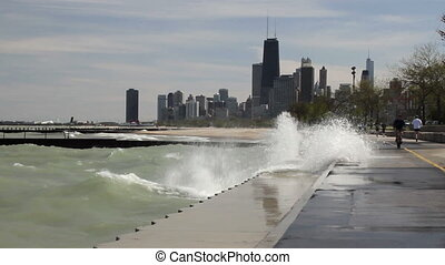 Big Waves at Chicago 1 - Large waves splashing against the...