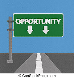 Opportunity sign concept with stitch style on fabric background