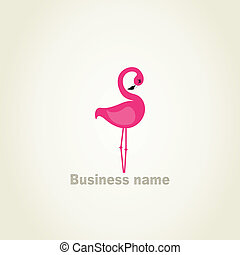 Flamingo2 - Pink flamingo on a grey background A vector...
