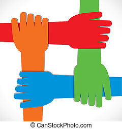 join hand - four hand join each other stock vector
