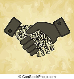 Person hand shake - Hand shake made of the person. A vector...