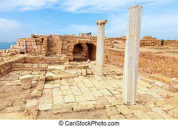 Caesarea - Ruins of ancient Roman city of Caesarea in Israel