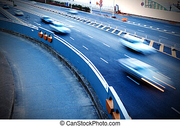 Highways and cars - cars in highway with blur motion