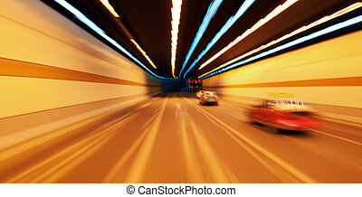 High-speed car in the tunnel, Motion Blur.