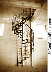Spiral stairs - Sleek metal spiral staircase, modern...