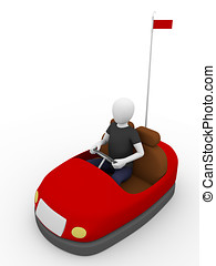 Bump car driver - A man is driving a bump car Entertainment...