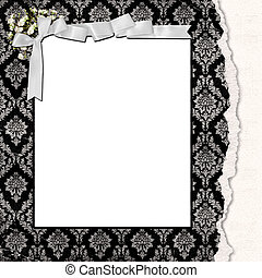 damask frame with bow
