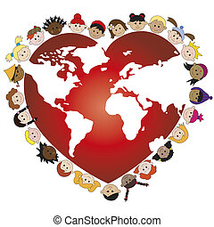 love - illustration of world with happy children face