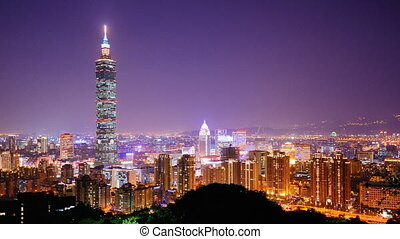 Taipei - Time lapse of Taipei, Taiwan at night