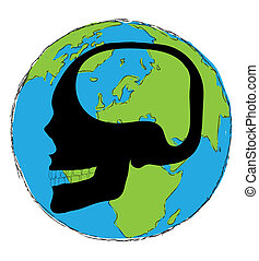 the earth with a big skull