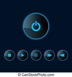 Media player icon - Set of Media player icons. Vector...
