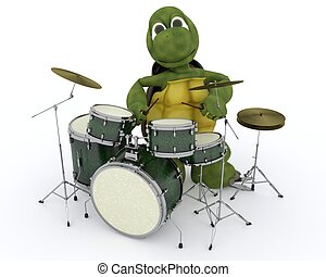 tortoise playing the drums - 3D render of a tortoise playing...