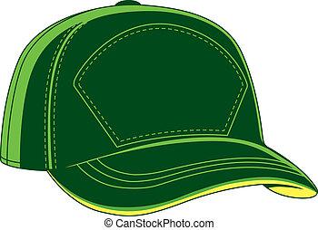 verde, beisball, gorra