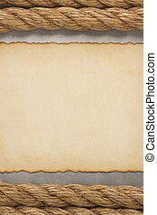 ship ropes and parchment background - ship ropes and...