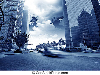 The streets of Shanghai - View of shanghai business district...