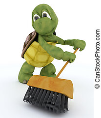tortoise sweeping with a brush - 3D render of a tortoise...