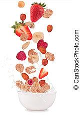 sano, tazón, vuelo, cereales, fruta, aislado, blanco,...