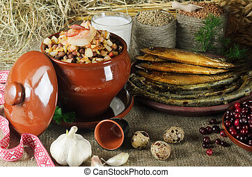 Latvian Food - Still Life Of National Latvian Food Products