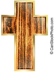Wooden Cross In Golden Frame Over White Background