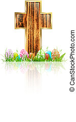 Easter: Wooden Cross With Eggs in Grass Over White...