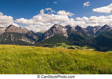 Mountain range above Scuol - Wide angle view of mountain...