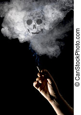 Smoking kills - A hand holding a cigarette with smoke shaped...
