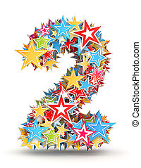 Number 2 from colored stars - Number 2, from bright colored...