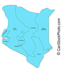 Map of Kenya - Map of provinces of Kenya.