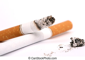 a cigarette  on white, macro